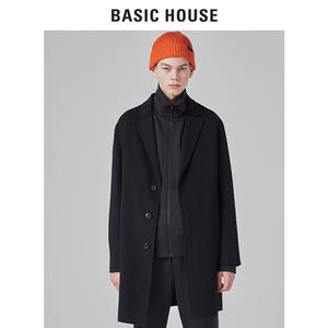 Basic House/百家好<span class=H>男装</span>冬季新款纯色帅气毛<span class=H>呢大衣</span>中长款BSCA71T1