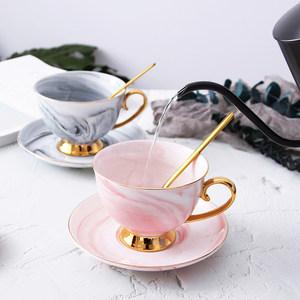 欧式小奢华咖啡杯碟套装描金下午茶<span class=H>杯子</span>女创意家用大理石纹<span class=H>陶瓷</span>杯