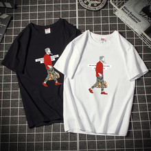 Hong Kong Fashion Men's Wear Summer European and American Teenagers Loose Short Sleeve T-shirt Men's Cotton Round Neck Large Half Sleeve T-shirt