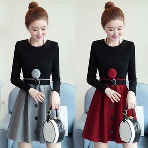 毛呢长袖<span class=H>连衣裙</span>女秋冬季新款韩版中长款加厚收腰显瘦针织打底裙子