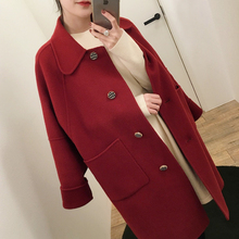 Long and small woolen jacket for girls in Korean version of the new women's spring dress of 2019. Loose red woolen overcoat for girls