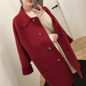 2019新款女装春装韩版中长款小个子毛呢外套女学生宽松红色呢大衣