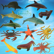 Children, marine animals, crabs, dolphins, sea lions, simulation models, toys, static plastic models, trumpet bags, 12 bags.