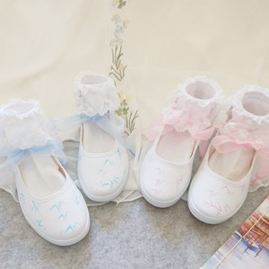 手绘<span class=H>帆布鞋</span>女改良汉服搭配鞋子古风森系少女坡跟舞蹈鞋绑带cos鞋