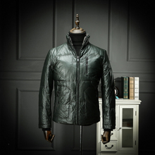 Middle-aged Down Suit PU Leather Garment Men Thicken Winter Coat Father Men's Wear Autumn and Winter Cold Wear