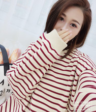 Lazy Wind Lantern Long Sleeve PP Home Sleeve Stripe Sanitary Wardrobe Women Spring and Autumn 2008 Korean Version Loose Sleeve Top