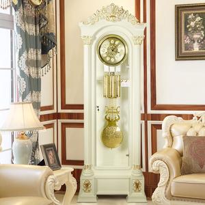 汉时欧式客厅<span class=H>落地钟</span>象牙白色实木大号落地座钟现代家居装饰钟G600