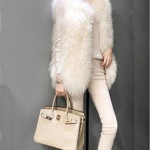处理新款仿滩羊毛皮草马甲女中长款修身显瘦羊羔卷毛<span class=H>外套</span>时尚背心