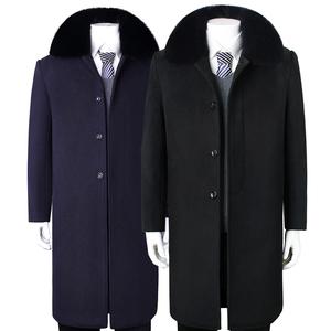 冬季中老年<span class=H>男装</span>羊毛<span class=H>呢</span><span class=H>大衣</span>加绒长款过膝老人爸爸爷爷<span class=H>呢</span>子风衣外套
