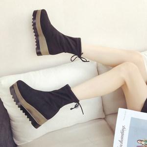 秋天靴子女学生韩版短款女靴黑色2018新款<span class=H>鞋</span>厚底短靴女式百搭弹力