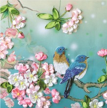 Free of domestic freight, genuine silk ribbon embroidery, new style of honeymoon 5D printing, three-dimensional embroidery, non-cross embroidery living room hanging picture