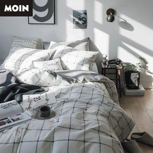 北欧简约条纹格子全棉四件套<span class=H>床单</span>床笠3件套学生寝室床上用品纯棉