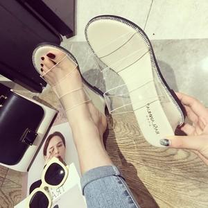 2018夏季韩版时尚水钻拖鞋性感透明软胶露趾坡跟百搭高跟<span class=H>凉拖鞋</span>女