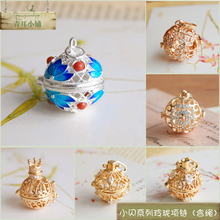 Sennufeng Xiaoqing Haoshi micro-inlaid sweater chain pendant aromatherapy ball pendant hollow sachet ball can open Necklace