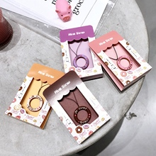 Ins Wind Lovely Donut Silicone Ring Hanging Rope New Apple Short Hanging Rope Cartoon Case Accessories