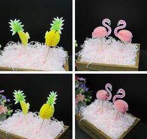派对烘焙蛋糕装饰插卡火烈鸟3D蛋糕插旗<span class=H>菠萝</span>纸杯蛋糕插旗生日插牌