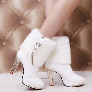 2018新款粗跟超高跟鞋<span class=H>女鞋</span>子白色毛毛<span class=H>靴子</span>水钻短靴雪地靴冬靴冬季