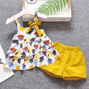 女宝宝夏装套装2018新款婴儿衣服0-1-2岁女童纯棉<span class=H>吊带</span><span class=H>短裤</span>两件套