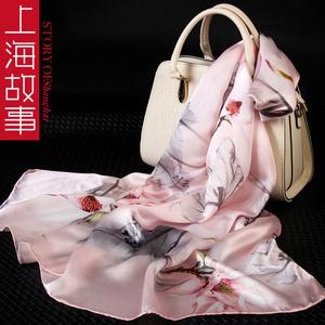 上海故事真丝<span class=H>围巾</span><span class=H>女</span>专柜正品杭州丝绸桑蚕丝丝巾旗袍外搭妈妈披肩