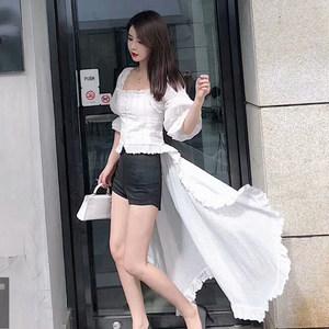 春夏新款气质可拆拖尾大裙摆一字领灯笼袖宫廷花边短款衬衫<span class=H>上衣</span>女