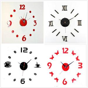 创意简易<span class=H>DIY</span>贴画时钟 现代时尚创新钟表 数字钟墙贴挂钟静音钟芯