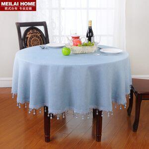 蓝色欧式圆桌桌布布艺圆形台布美式地中海田园风格<span class=H>餐桌</span>布布艺棉麻