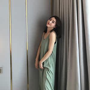 不规则连衣裙女2019夏季新款韩版修身无袖V领<span class=H>吊带裙</span>中长款雪纺裙