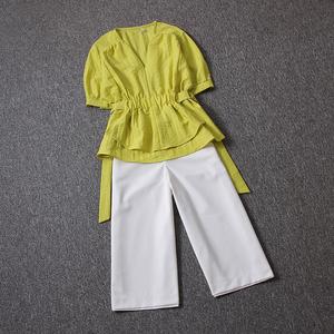欧洲站气质<span class=H>套装</span>2018夏装新款收腰V领洋气小衫搭配七分休闲阔腿裤