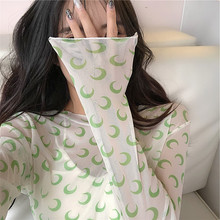 Panyafeng the same mesh small flower thin T-shirt summer elastic crescent tight long sleeve outside wearing sunscreen undercoat