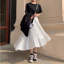 Spring 2019 irregular pleated A-shaped skirt High Waist Chiffon cake skirt fairy French minority bust skirt