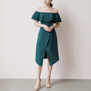 TANSSHOP双层<span class=H>荷叶</span>边露肩一字领伴娘服显瘦不规则裙摆连衣裙D360