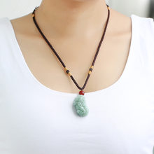 Natural jadeite ferret pendant for men and women to attract money and prevent evil, transshipment of A cargo Myanmar crystal necklace jewelry to light up