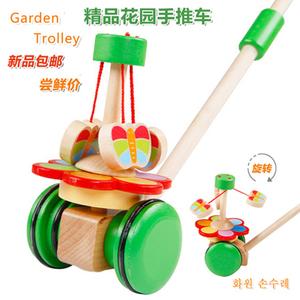 木制儿童学步车手推车<span class=H>玩具</span> 男女孩幼儿宝宝单杆推推乐1-2-3周岁半