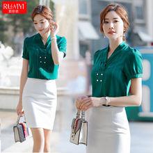 Professional women's shirts Korean version of Western-style suit, fashion T-shirt, V-neck, satin, loose and slim jacket