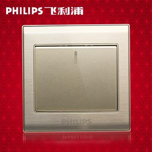 <span class=H>正品</span>Philips/<span class=H>飞利浦</span><span class=H>开关</span>插座单控<span class=H>开关</span>86型1一开单控香槟金Q8-810V