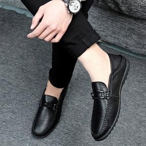 夏e步英伦豆豆鞋冬季<span class=H>男鞋</span>真皮男士休闲鞋<span class=H>皮鞋</span>懒人套脚驾车<span class=H>鞋子</span>男