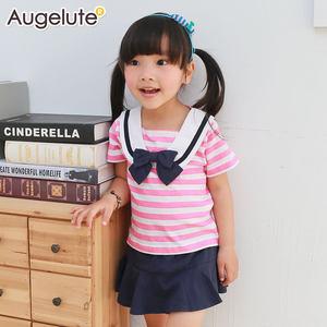 Augelute 春夏新款 女宝宝条纹海军风短袖+<span class=H>裙裤</span>套装 52215