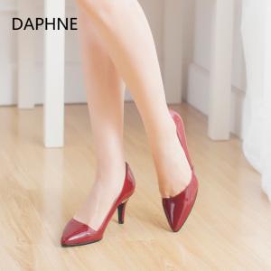 Daphne/达芙妮女<span class=H>鞋</span><span class=H>秋季</span>单<span class=H>鞋</span>女细跟欧洲站漆皮尖头<span class=H>浅口</span>时尚<span class=H>高跟</span><span class=H>鞋</span>