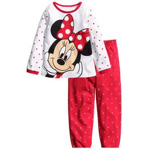 纯棉平纹长袖<span class=H>t恤</span>长裤睡衣米妮女孩套装儿童全棉家居服米奇米老鼠