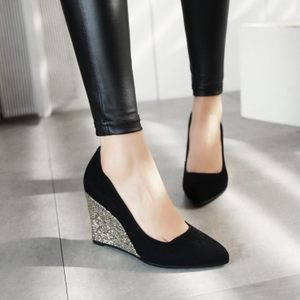 坡跟单鞋女春秋季新款女鞋韩版磨砂浅口大小码尖头高跟鞋工作<span class=H>鞋子</span>