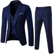Set Men 3 Pieces Slim Fit Casual Tuxedo Suit Male Suits Set