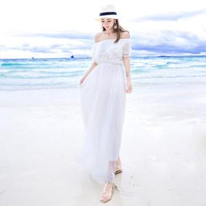 夏季新一字领露肩白色<span class=H>抹胸</span>雪纺连衣裙<span class=H>波西米亚</span><span class=H>长裙</span>海边度假沙滩裙