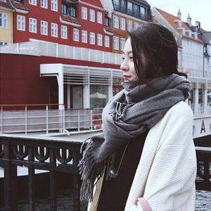 秋冬韩版毛线围巾女冬季学生男女纯色仿羊绒针织加厚保暖围巾披肩