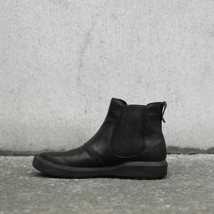 日着原创设计<span class=H>女鞋</span> 黑色真皮头层牛皮<span class=H>鞋子</span>女单鞋平底<span class=H>靴子</span>女短靴