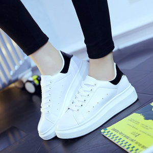 新款板鞋<span class=H>帆布鞋</span>春季学生百搭厚底白鞋女鞋系带韩版2017春秋小白鞋