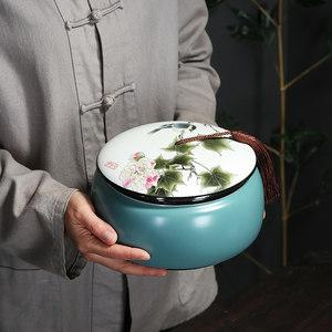中国风复古茶叶<span class=H>罐</span>陶瓷大中小号流苏密封醒茶<span class=H>罐</span>白茶<span class=H>饼</span>普洱茶盒家用