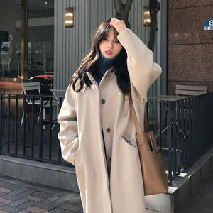 毛呢<span class=H>外套</span>女超长款2019春装新款韩版宽松学生过膝赫本风黑色呢大衣