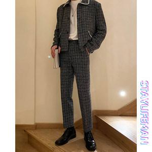 STAYLIFEMAN韩国春装chic经典格纹西裤小香风男士休闲西服套装潮