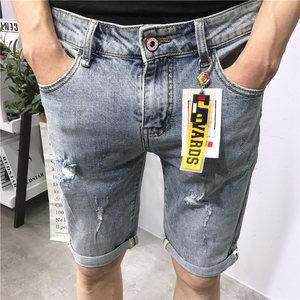 牛仔五分裤男浅蓝夏新款修身韩版潮卷边个性挂件破洞抓痕社会网红