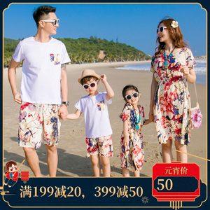 亲子装夏装波西米亚<span class=H>母女裙</span>沙滩装一家三口纯棉父子套装海边度假潮